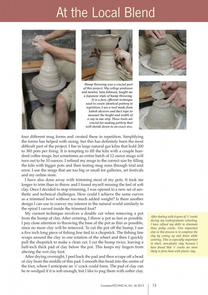 Page 2, Joel Cherrico Pottery, Ceramics Art and Perception, Technical, Handmade Grounds at the Local Blend, 2013