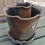 Wood Fired Stoneware Pottery, Sagger fired vases in planters 1