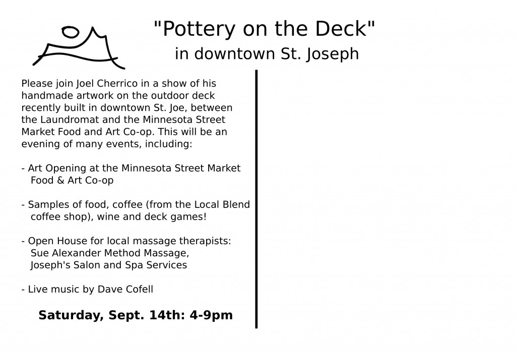 Back, Postcard for Pottery on the Deck Show and Sale, 2013