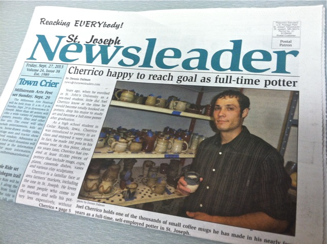 Joel Cherrico Pottery News, Publications, St Joseph Newsleader, Handmade Ceramic Pottery, 2013
