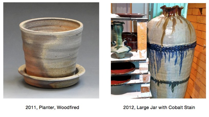 2011 planter and jar, Cherrico Pottery