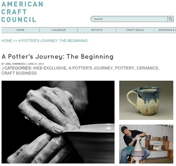 Cropped photo for A Potter's Journey, American Craft Council, Joel Cherrico Pottery, 2014