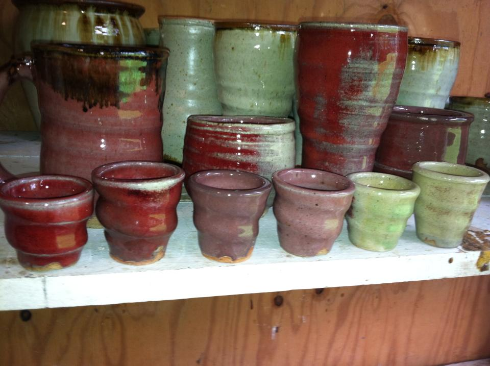 Copper Red and Green Glazes, Joel Cherrico Pottery Cups