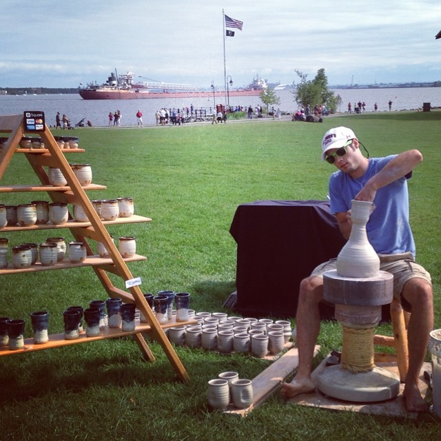 "Once each year, I set up an outdoor studio at ""Art in Bayfront Park"" in Duluth, MN for a weekend of pottery making."