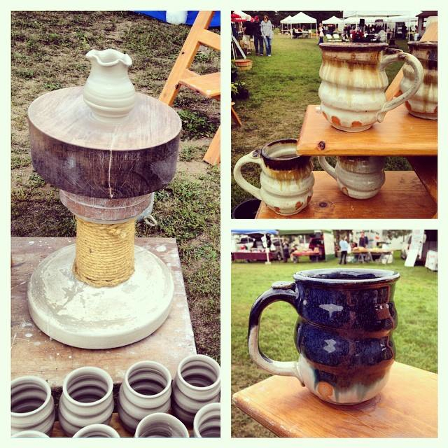 Joel Cherrico Pottery Farmers Market Karatsu Wheel Mugs Stoneware Pots