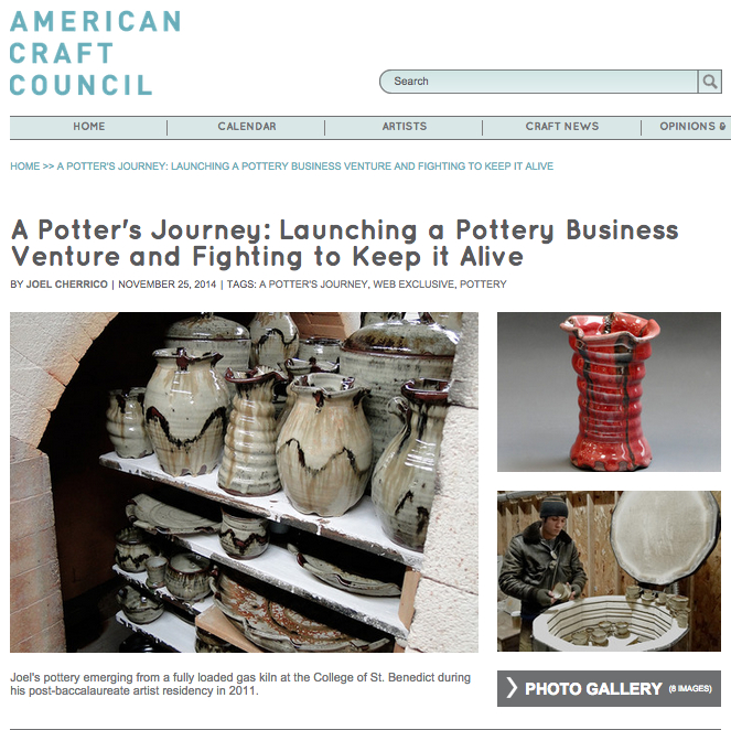 American Craft Council, Cherrico Pottery, A Potter's Journey, Handmade Ceramic Pottery, 2014