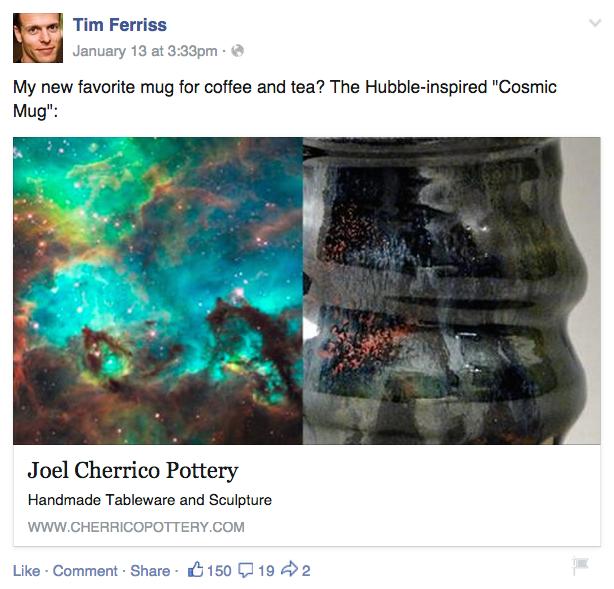Tim Ferriss, Joel Cherrico Pottery, Cosmic Mug, Hubble Space Telescope, 2015