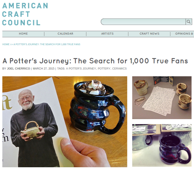 The Search for 1,000 True Fans, American Craft Council, Cherrico Potterty