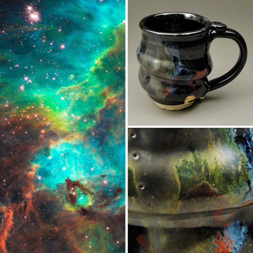 image 01, Cosmic Mug and Glaze Detail and the Star Cluster NGC 2074 in the Large Magellanic Cloud, Cherrico Pottery, Hubblesite.org