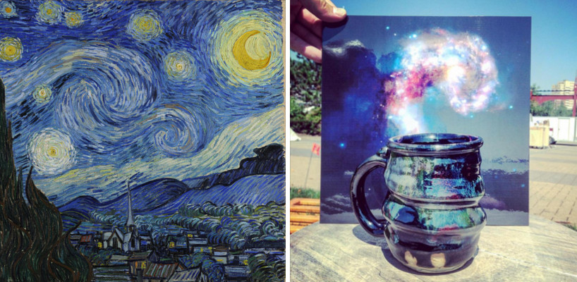 Starry night and cosmic mug in front of Galaxy Collision