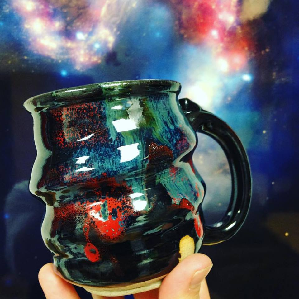 Cosmic Mug in front of Galaxy Collision, Cherrico Pottery