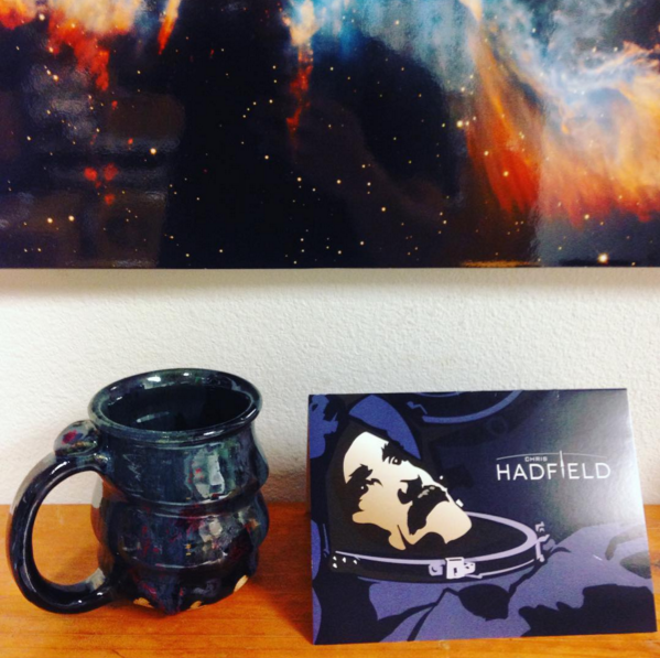 Chris Hadfield, Card and Cosmic Mug and Planetary Nebula Above, Cherrico Pottery, 2015
