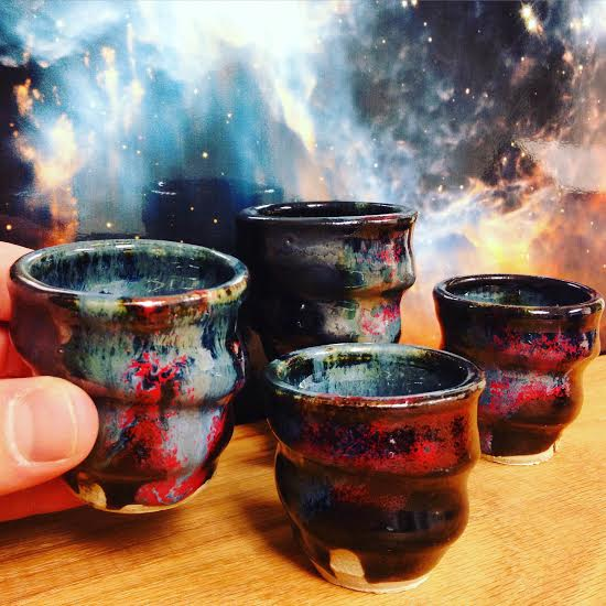 Cosmic Cups, Set of Four Shot Cups, Cherrico Pottery, 2015