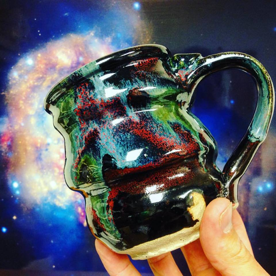 Cosmic Mug Galaxy Colission pouring out of mug