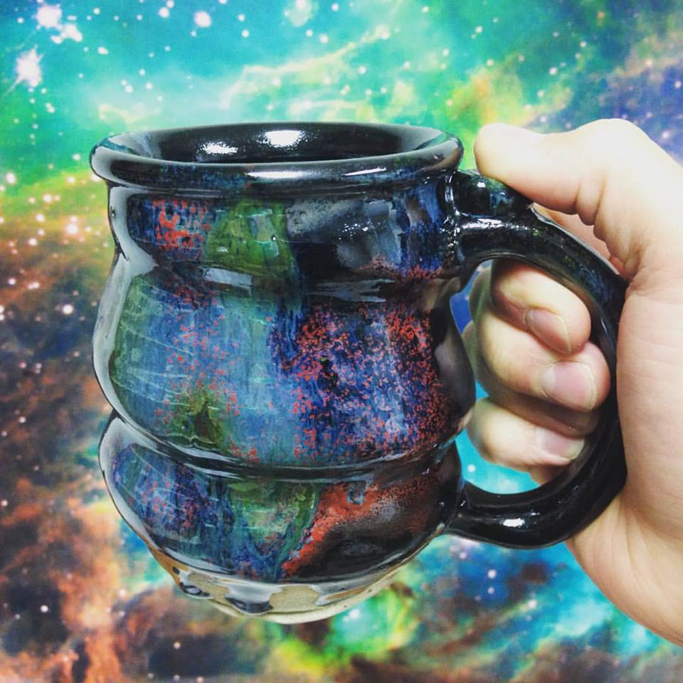 cosmic mug in front of Molecular Cloud Cluster, Cherrico Pottery
