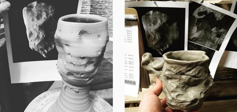 Asteroid Cup, Meteorite Mug, Image 2, Cherrico Pottery, 2016